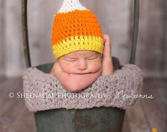 Newborn candy corn crochet hat