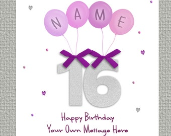 PERSONALISED - Any AGE, NAME NIECE Balloons Happy Birthday Luxury Card