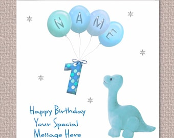 Personalised Handmade Kids Birthday Card /'Dinosaur Name/' Boys Any Name Fun Card