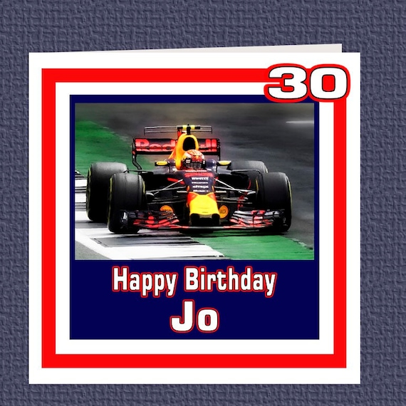 Personalised Max Verstappen F1 Birthday Racing Car Card Etsy
