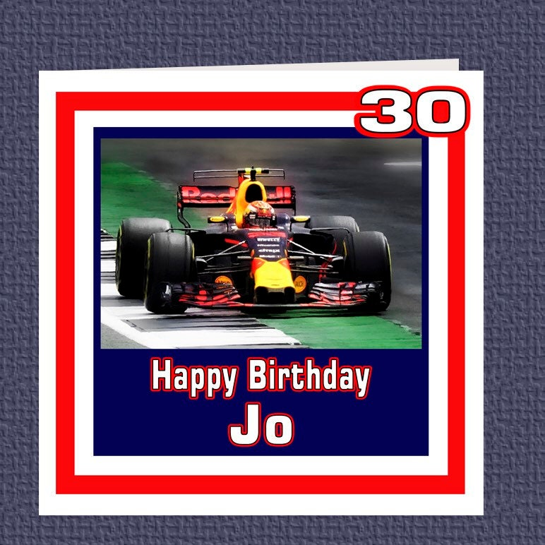 personalised max verstappen f1 birthday racing car card etsy. Black Bedroom Furniture Sets. Home Design Ideas