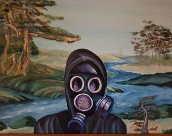 Image result for gas mask painting