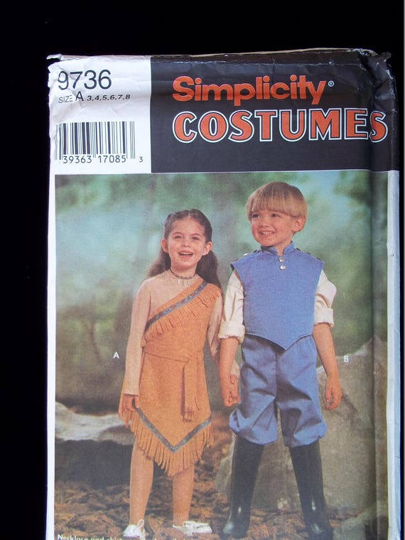 Disney Pocahontas and John Smith Child Couple Costume Sewing Pattern ...
