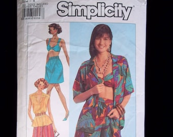 Vintage 90's Bikini Top/Bralette, Hawaiian Shirt, Shorts & Wide Leg Cropped Pants Sewing Pattern-Simplicity 9712  Petite thru X-Large UNCUT