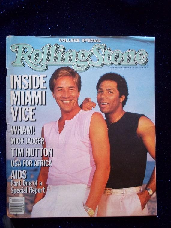 Miami Vice Don Johnson Philip Michael Thomas Vintage Rolling Stone Magazine 1985 Issue 444 Crockett Tubbs Collectible Magazine