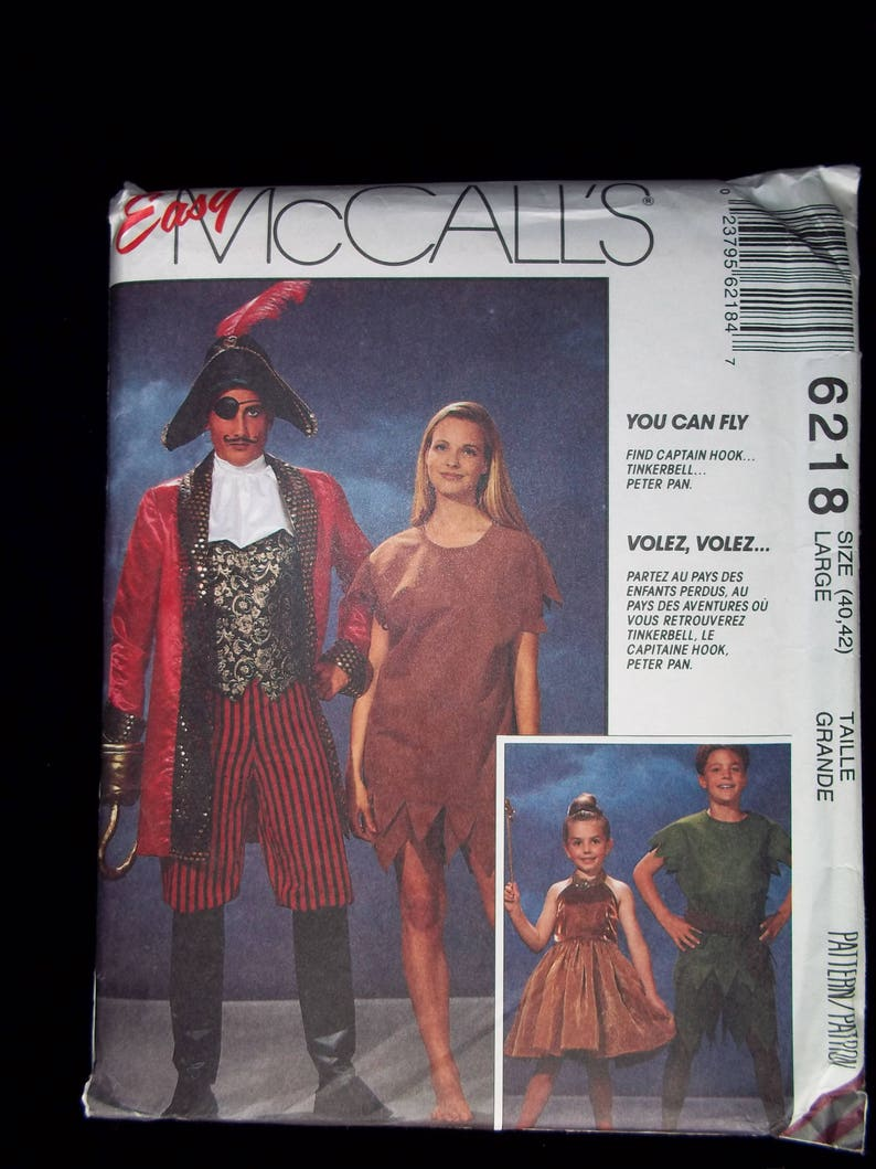c77968341 Disney Peter Pan, Captain Hook & Tinkerbell Couples Costume Sewing Pattern-  McCall's 6218- Adult Size LG, Kids Sizes 2-4, 5-6, 7-8 UNCUT