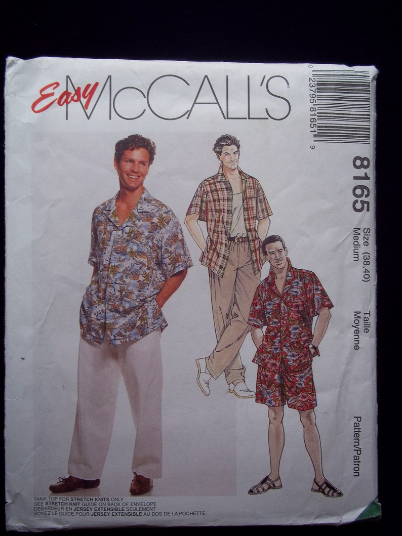 7eb6c3eba8 Vintage 90 s Men s Hawaiian Shirt Sewing Pattern