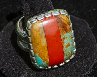 Size 13 Turquoise Inlay Sterling Silver Ring, 34g