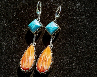 Spiny Oyster Earrings, Turquoise Earrings, Lever back Turquoise Earrings, Turquoise Dangle Earrings