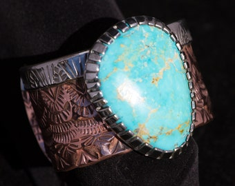 Sterling Silver & Copper Turquoise Cuff, Wide Band, Kingman Blue Turquoise, Hand Stamped, Sterling Silver Bracelet, Freeform Cabochon