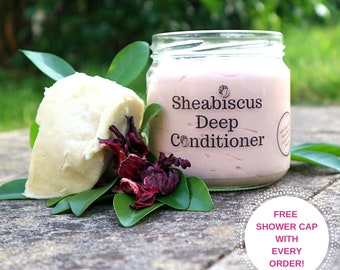 Sheabiscus Moisture Mask, Deep Conditioner (Shea, Hibiscus, Avocado, Ginger, Castor, Ayurvedic, Flaxseed, Calendula) All Hair Textures