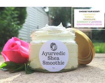 Ayurvedic Whipped Shea Smoothie, Choc/Strawberry/Vanilla/Rosemary&Lavender, Hibiscus, Aloe, Moringa, Beard, Luxury, Creamy Hair Moisturiser