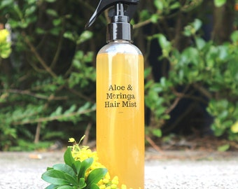 Aloe & Moringa Hair Mist, 8oz, Rosewater, Hair Shedding, Hydrating, Nourishing, Ayurvedic, Green Tea, Beard, Itchy Scalp, Psoriasis