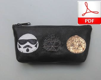 Leather Purse PDF - Leather Purse Sewing Patterns to Make This Cute Pencil Case with Star Wars Patchs, Digital Download