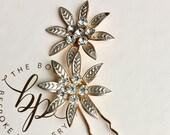 Flower Hair Pins/ Gold Bridesmaid Hair Pins/ Bride Accessories/ Wedding Accessories/ Flower Girl/ Hair Accessories/ Hair Pins