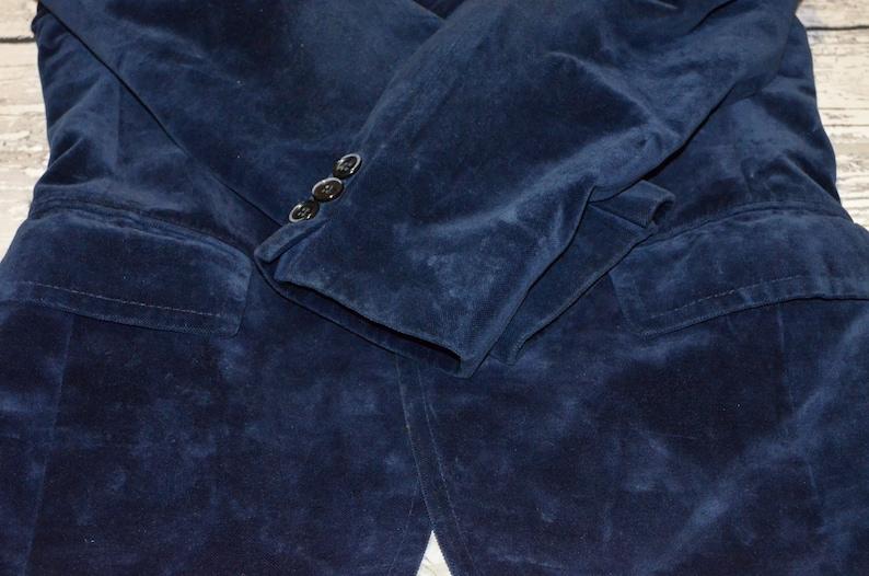 Vintage Schild Velours Blazer Mens Velour Blue Suit Designers Mens Jacket Coat Size M
