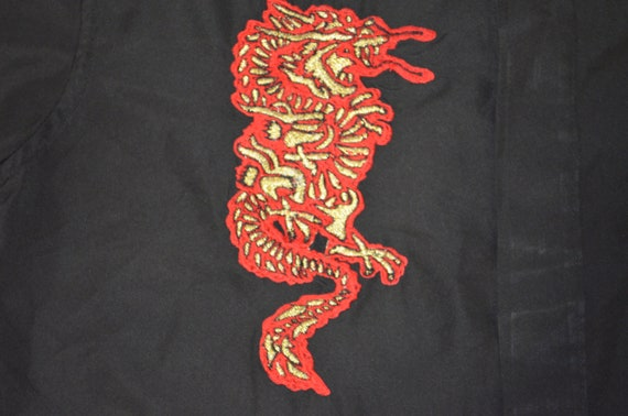 Vintage Hawaiian Dragon Shirt Mens 90s Dragonfly Blue Black Polyester Short Sleeves Loop Colla