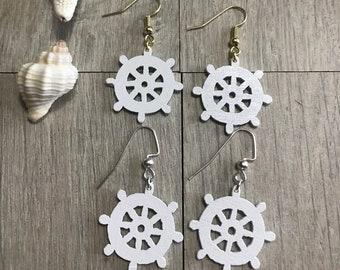 White ship wheel earrings