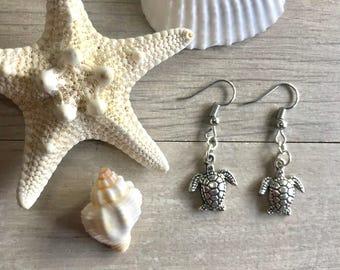 Silver plated sea turtle earrings