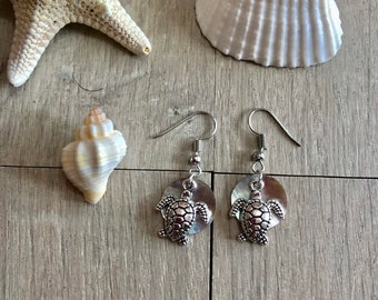 Turtle and shell earrings