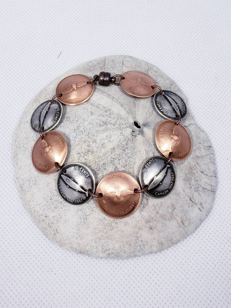 Canadian penny and dime bracelet hand made from 1967 centennial coins.