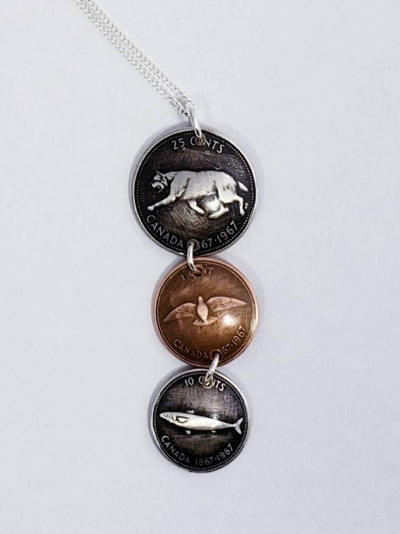 Coin necklace Handmade coin pendant using 1967 Canadian centennial coins.