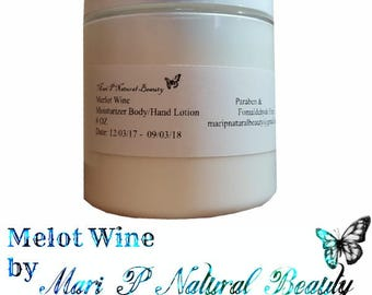 Merlot Wine Moisturizer Body & Hand Lotion 8 Oz Paraben and Fomaldehyde Free *Vegan*