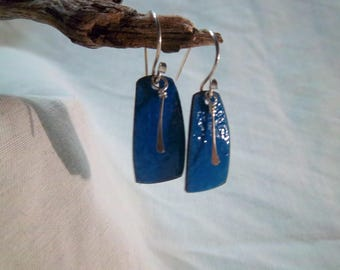Handmade Earrings - Heat-treated Enameled Copper - Sterling Silver