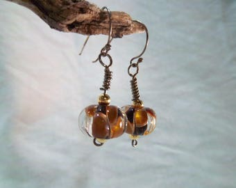 Handmade Earrings - Glass Bead - Brown, Amber and Clear - Sterling Earwire