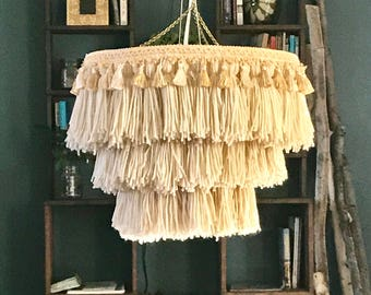 Tassel chandelier, Bohemian lighting, boho chandelier