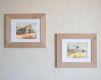 rustic art print barns watercolor
