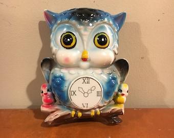 Vintage blue owl wall pocket