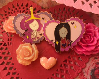 Marceline and Princess Bubblegum Valentines Day Rose Gold Pin Set