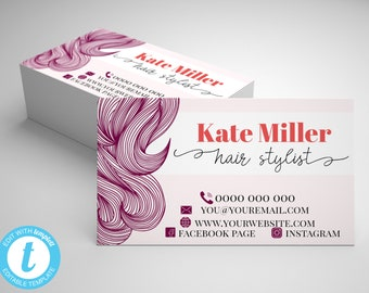 96a40c8b48d Editable Hair Stylist Business Card, Floral Business Card, Pink Makeup  Artist Card, Hair Salon Business Card