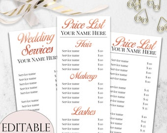 Salon menu etsy beauty salon price list template bundle editable price list rose gold price list wedding hair and makeup price list cosmetologist maxwellsz