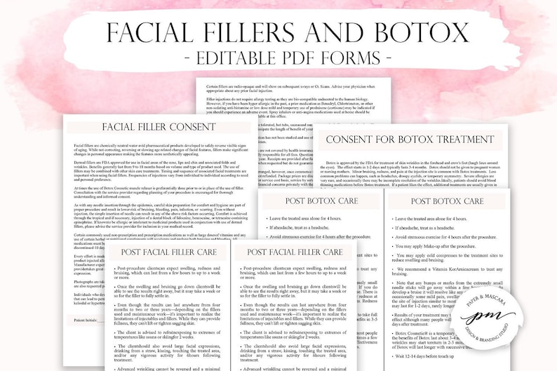 Editable Facial Fillers and Botox Treatment Forms, Customizable Botox  Consent Form, Facial Filler Consent Form, Aftercare Cards