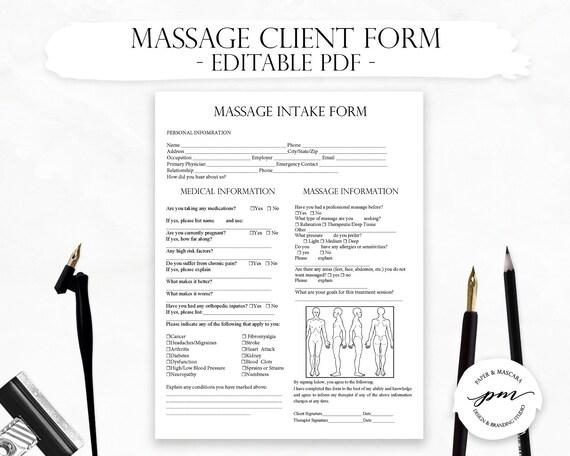 Editable Massage New Client Forms Massage Therapist Business Planner