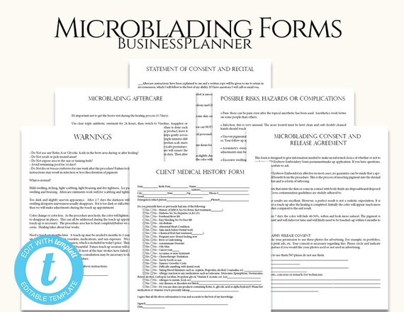 Microblading Permanent Makeup Forms Microblading Technician Etsy