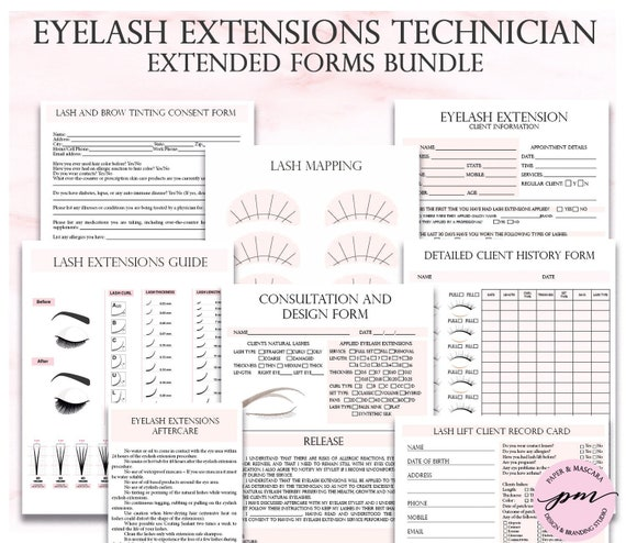 Pink Eyelash Extensions Technician Forms, Printable Client Form, Eyelash  Extensions Business Forms, Esthetician Forms, Lash Mapping