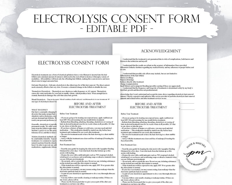 Electrolysis Consent Forms, Electrolysis Client Consultation, Before and  After Card