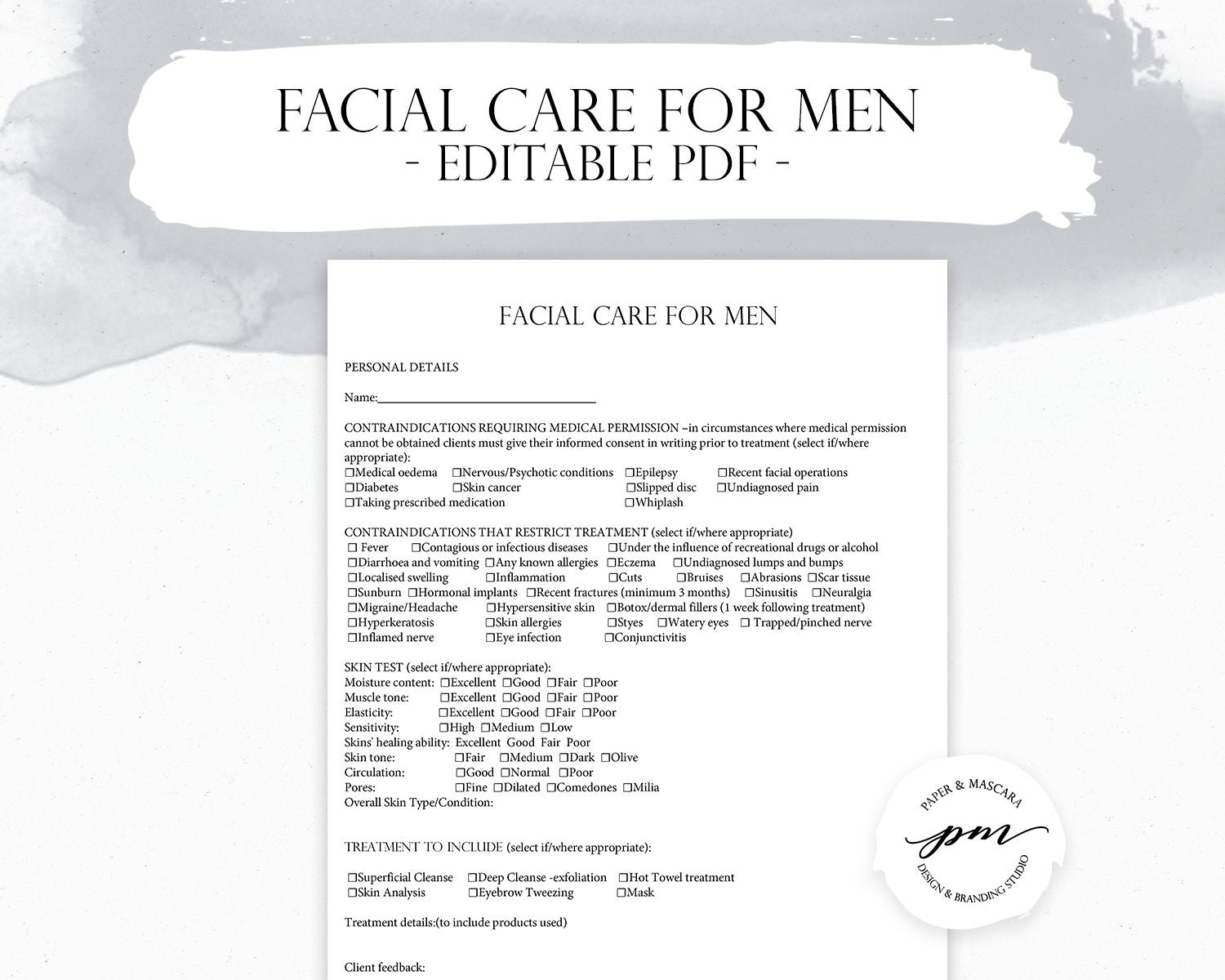 Facial Care For Men - Salon Services Form, Editable Facial Treatment Form,  Esthetician Forms