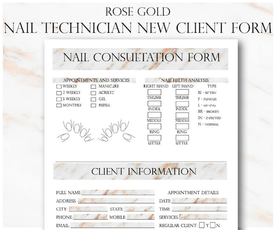 rose gold nail technician new client form and service record etsy