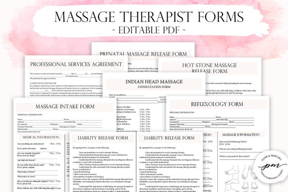 Editable Massage Therapist Business Planner Massage Business Customizable Massage Consent Forms Massage Client Intake Form