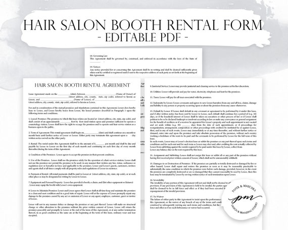Hair Salon Booth Rental Agreement Barber Shop Booth Rental Contact Template Beauty Salon Forms