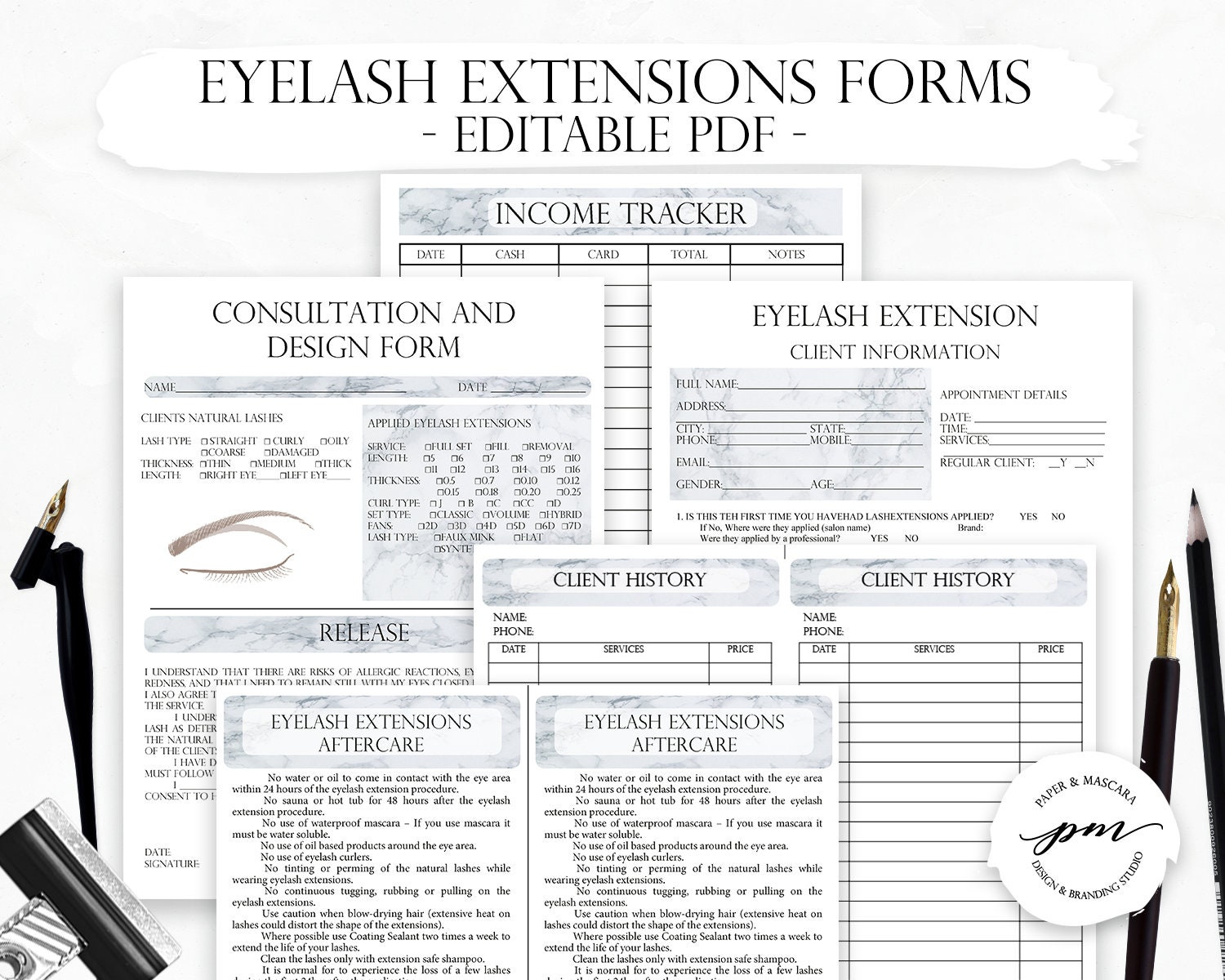 Editable Eyelash Extensions Technician Forms, Gray Marble Printable Lash  Form, Cosmetologist Forms, Beautician Forms