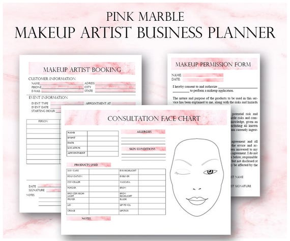 Pink Makeup Artist Business Planner Bundle Freelance