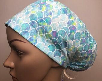 Scrub cap hat blue mermaid print toggle closure hand made in Australia 100% cotton