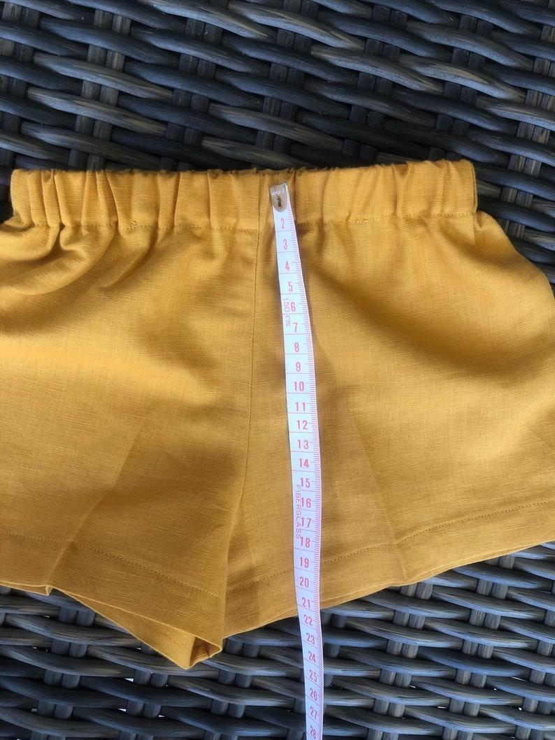 Baby boys linen mustard shorts