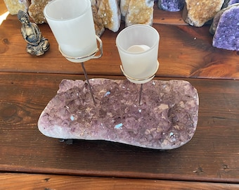 Blue Agate Natural Druzy Crystal Candle holderGemstoneCrystal Candle HolderQuartzNatural Clustercandle stand