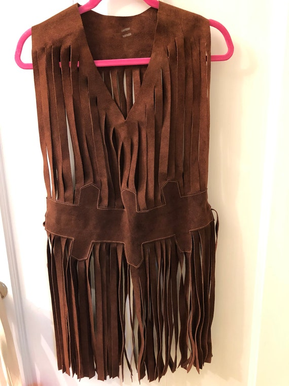 Women's Vintage Suede Fringe Top from the 70's